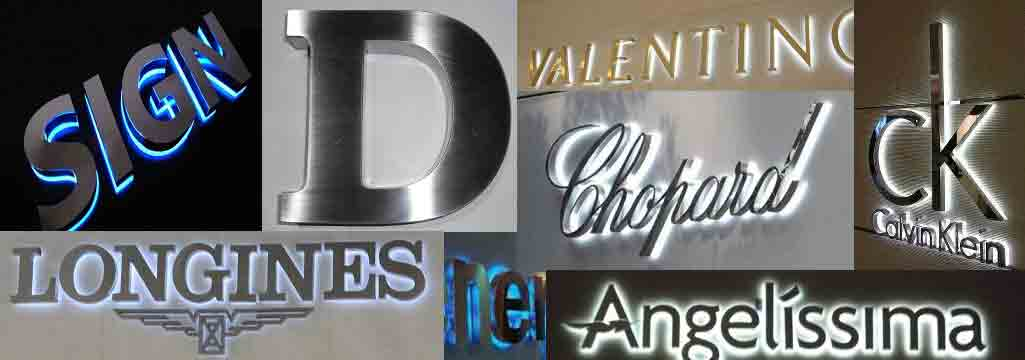 San Antonio storefront signs Stainless Steel backlit letters