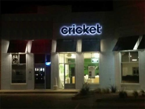 Cricket wireless backlit letters at City of Hutto TX, custom signs, business signs are a superior signage choice for many applications.